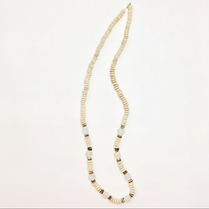 Jewelry - Long Neutral Beaded Necklace Mint Green Stones